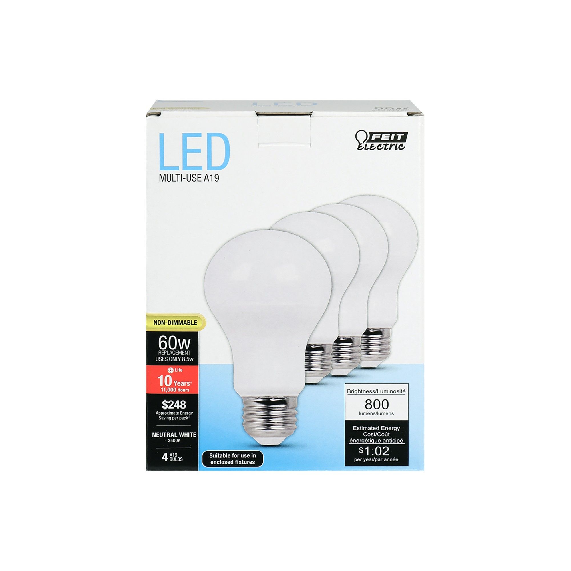 Feit A19 60 Watt Led Light Bulb 4 Pack Soft White With Images Light Bulb Led Light Bulb Bulb