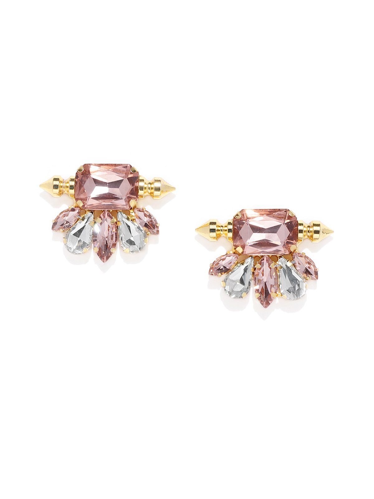 Gold Tone Crystal Shine Stones Contemporary Stud Earring   Stud ...