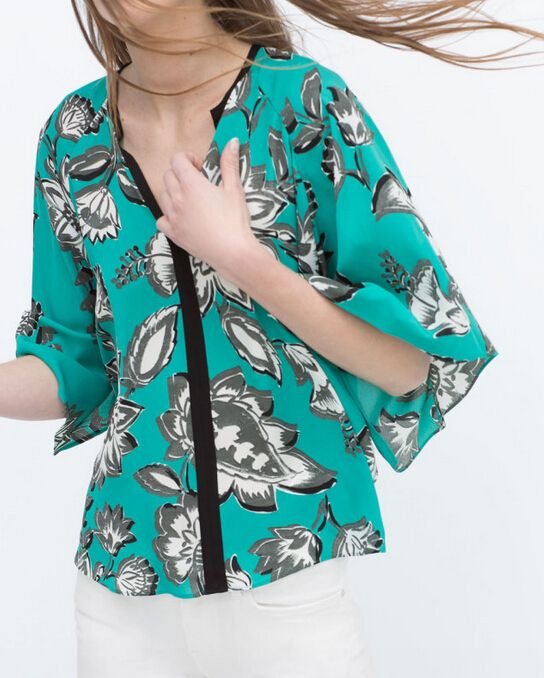 Find More Blouses & Shirts Information about 2015 za women elegant digital floral print loose kimono blouses vintage chiffon v neck casual cheap shirts blusas clothing tops,High Quality Blouses & Shirts from Easydeal Fashion Store(Offer Drop Shipping) on Aliexpress.com