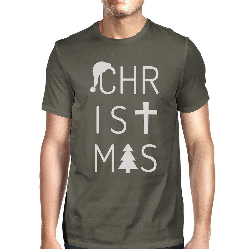 aa3f28403f0038 Christmas Letters Mens Dark Grey Shirt