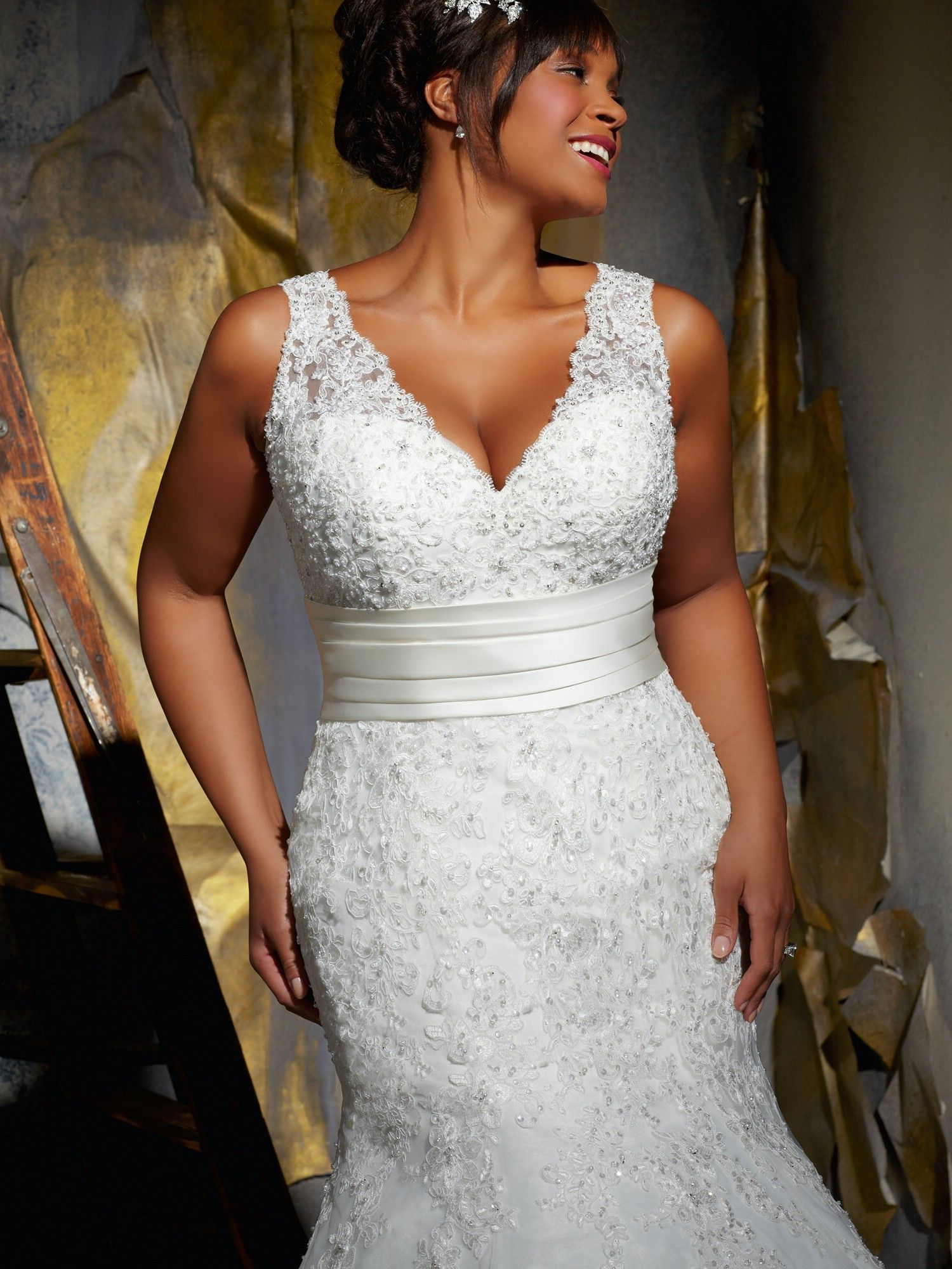 Mermaid plus size wedding dresses  Satin and Lace Mermaid Wedding Dress  Plus size wedding  Pinterest