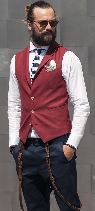 af91ea86af1 Pin by Lookastic on Colored Chinos | Mens fashion:__cat__, Navy chinos,  Waistcoat men