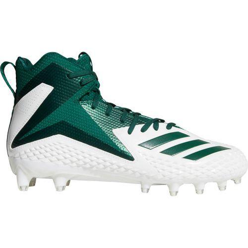 Adidas Men's Freak X Carbon Mid Football Cleats (White/Dark Green, Size 13