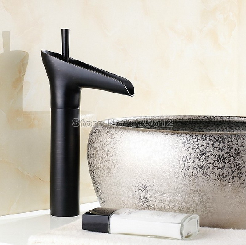 73.49$  Watch now - http://aliqgh.shopchina.info/1/go.php?t=32683699240 - Black Oil Rubbed Brass Deck Mounted NEW Waterfall Style Bathroom Basin Sink Faucet Single Handle Vessel Sink Mixer Taps Whg036 73.49$ #buyonline