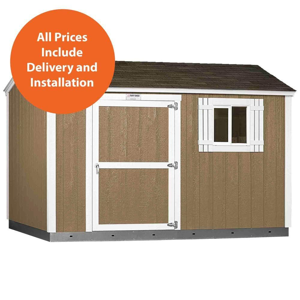 tuff shed installed tahoe 8 ft x 12 ft x 8 ft painted wood storage shed with shingles and sidewall door tahoe s at the home depot mobile