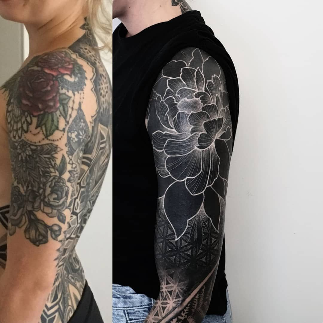 6 685 Likes 107 Comments Matteo Nangeroni Matteonangeroni On Instagram Beginning Today Still In Progr Black Tattoo Cover Up Pattern Tattoo Up Tattoos