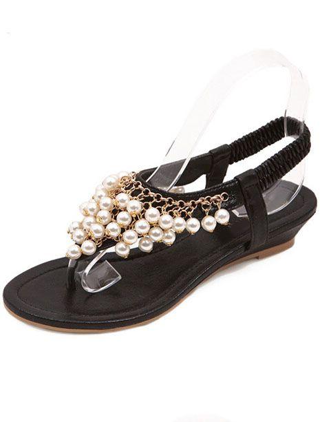 97c3a953b4d Sandalia de debo perlas-Sheinside