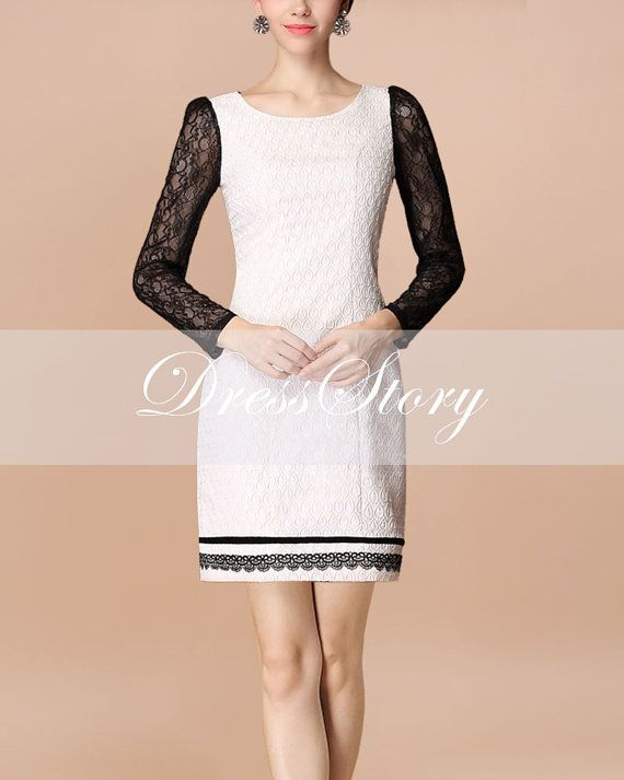 Long Sleeved White Jacquard Mini Dress with Black by DressStory, $94.99