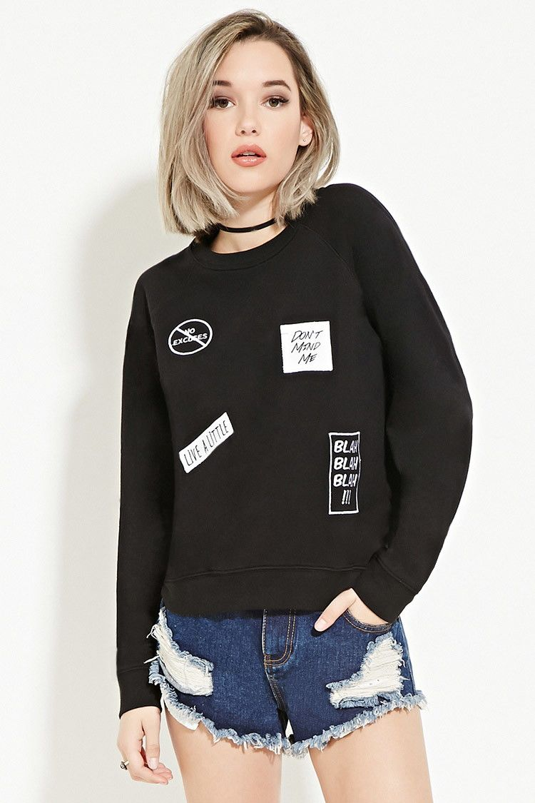 Blah Patches Sweatshirt Sweatshirts Hoodies 2000152550 Sweatshirts Clothes Forever 21 Women [ 1125 x 750 Pixel ]