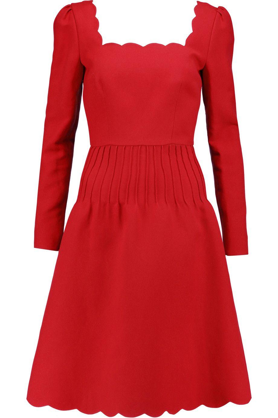 Valentino scalloped silk and woolblend dress valentino cloth