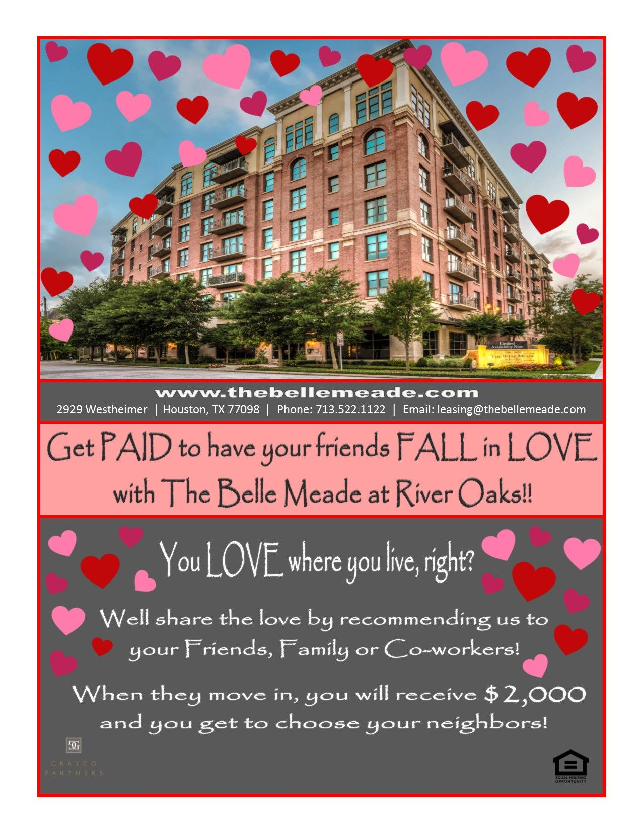 Fall In Love Resident Referral Flyer Belle Meade Apartment Marketing Rental Apartments