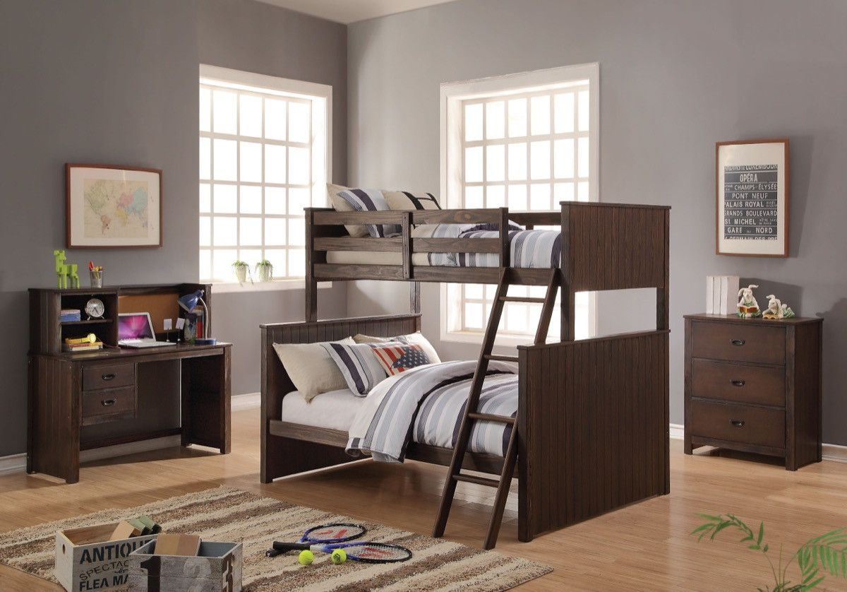 ACME Hector Twin/Full Bunk Bed Antique Charcoal Brown - 38020
