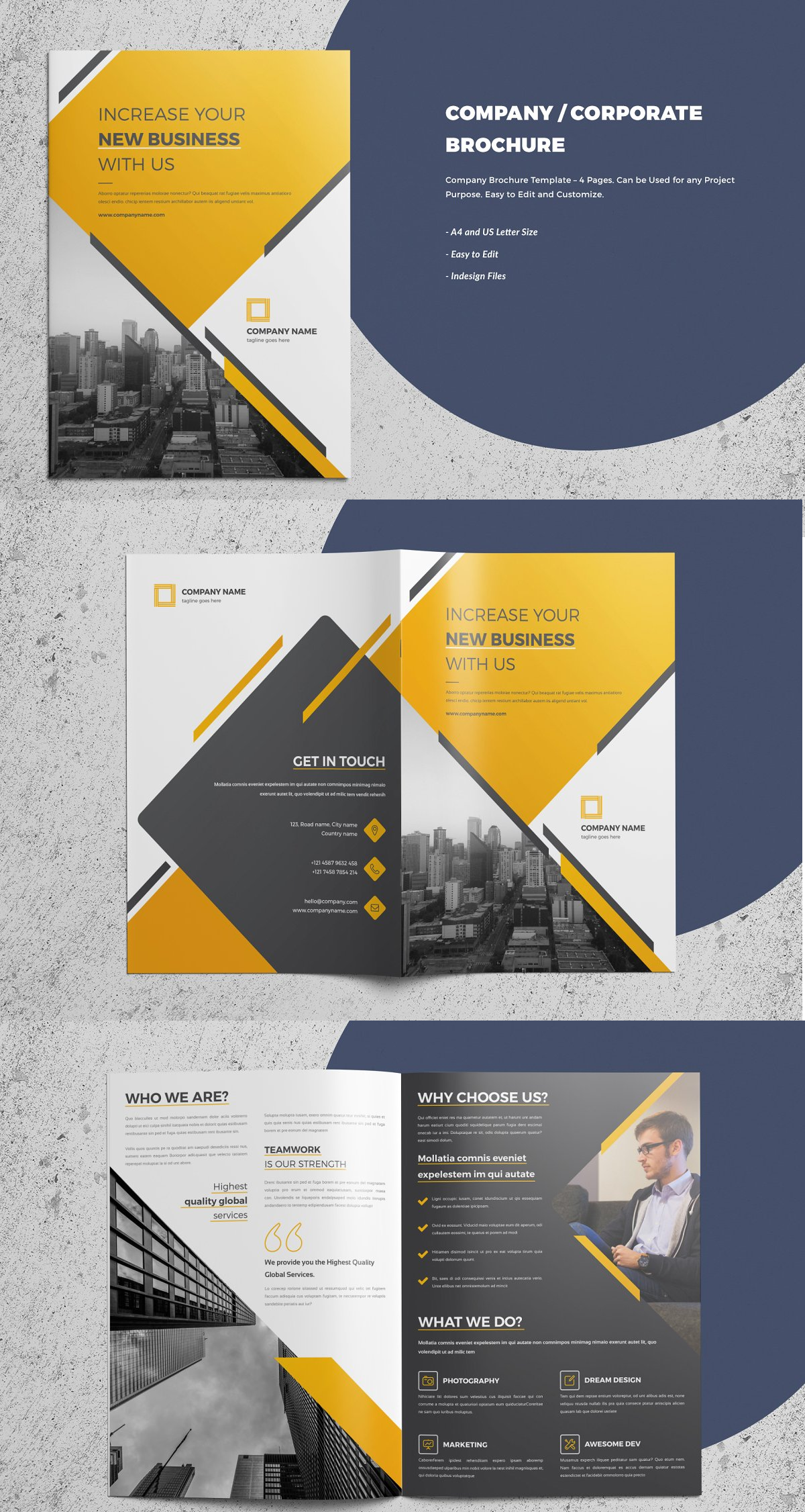 4 Pages Corporate Company Brochure Company Brochure Brochure Template Company Profile Design Templates