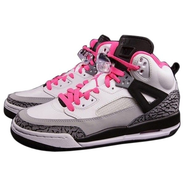 low priced f90e8 a0a44 Pre-owned Air Jordan Jordan Spizike White hyper Pink black cool Grey...  ( 107) ❤ liked on Polyvore featuring shoes, pink shoes, black shoes, pre  owned ...