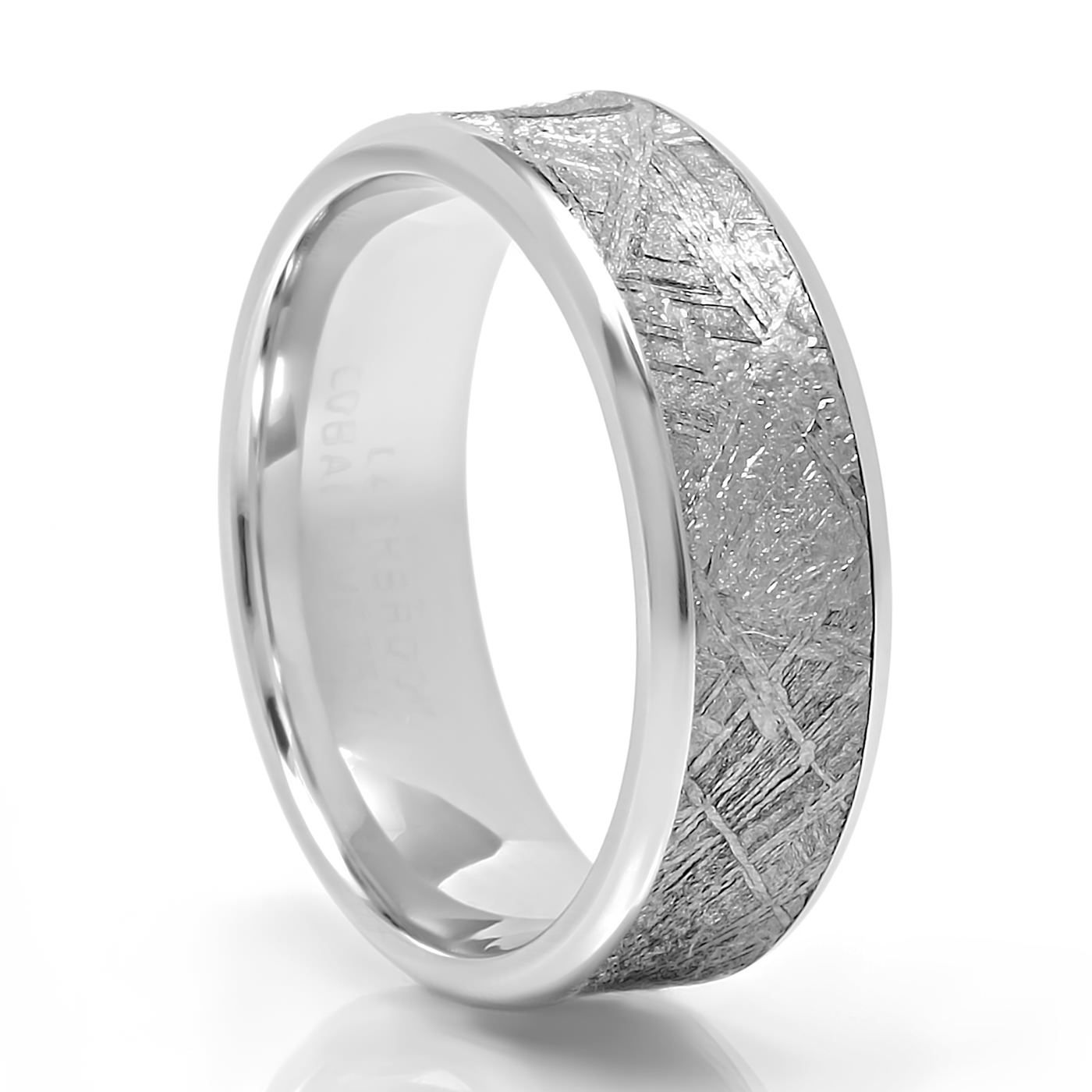 This is a picture of FUSION Cobalt & Meteorite Mens diamond wedding bands, Meteorite