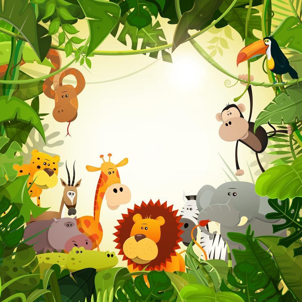 Dschungel Tier Hintergrund Der Wild Lebenden Tiere Animal Illustration Kids Jungle Animals Animals Wild