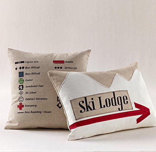 Set of 2 Ski Lodge Decor Pillows