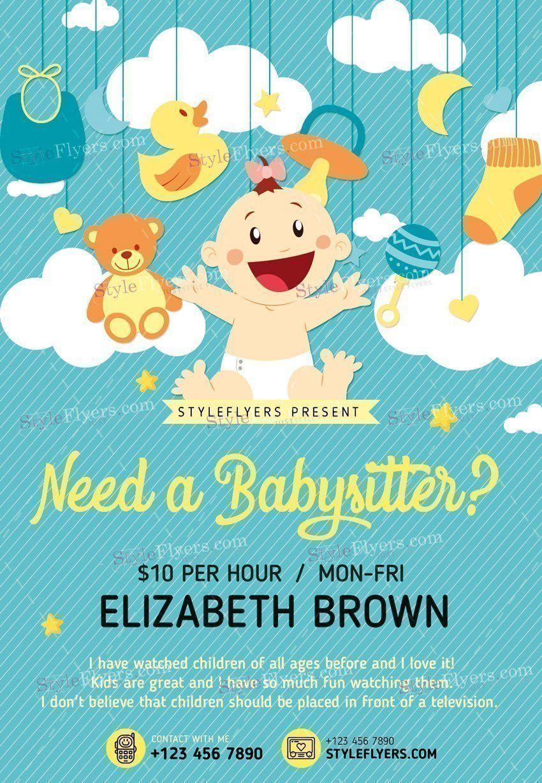 babysitting psd flyer template