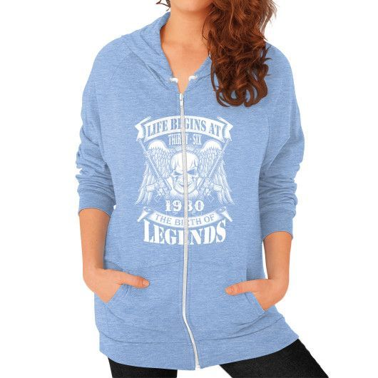 LIFE BEGINS AT 1980 Zip Hoodie (on woman)