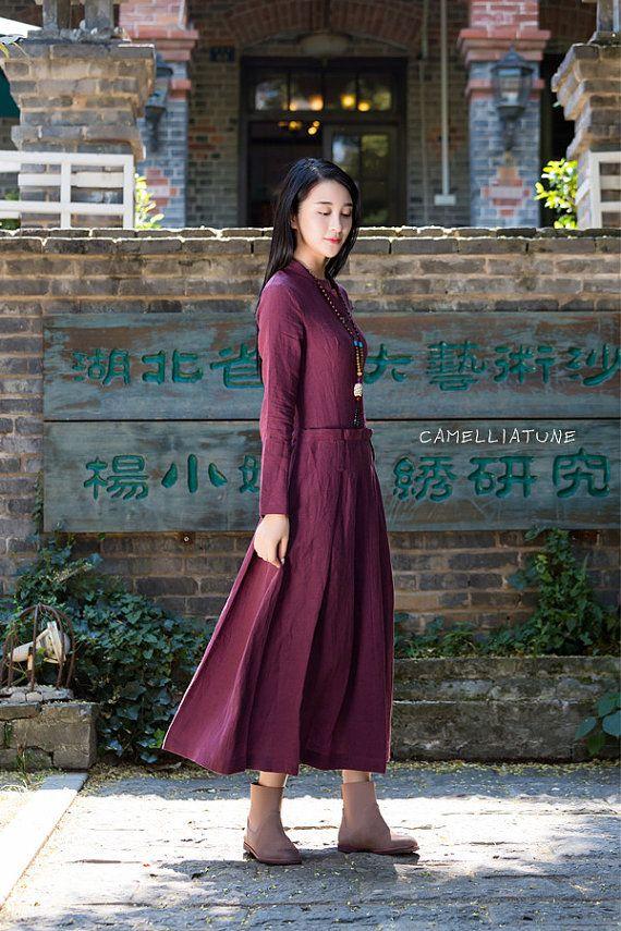 maxi linen dress in purple longsleeve winter dress by