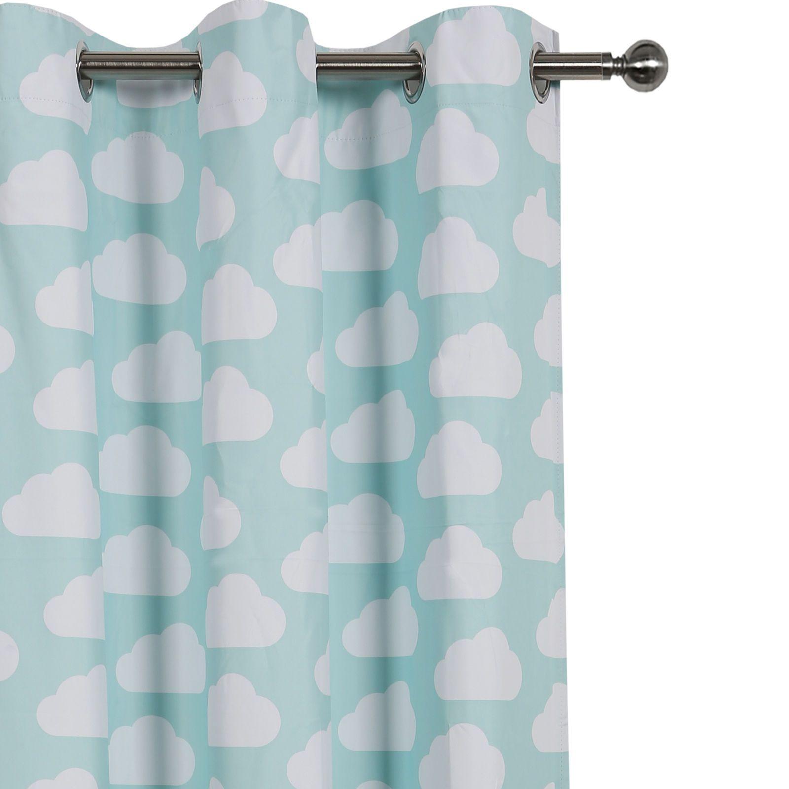 Kids children curtain coated blockout eyelet window drape clouds