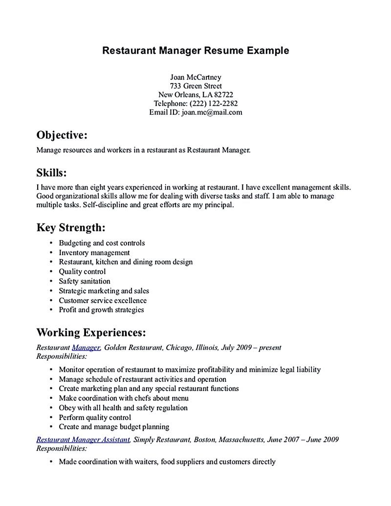 resume for restaurant manager Restaurant manager resume
