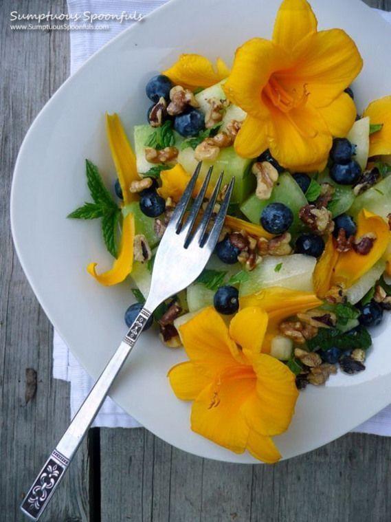 Honeydew Blueberry Walnut Salad w Edible Flowers  Sumptuous SpoonfulsMinted Honeydew Blueberry Walnut Salad w Edible Flowers  Sumptuous Spoonfuls