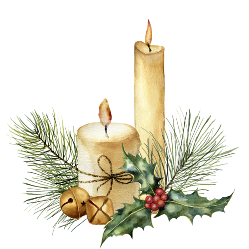 Candle With Decor Png Christmas Watercolor Watercolor Christmas Cards Christmas Paintings