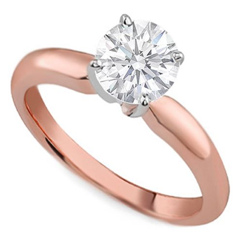 Pink Gold Clic Solitaire Engagement Ring Dome Tapered Band