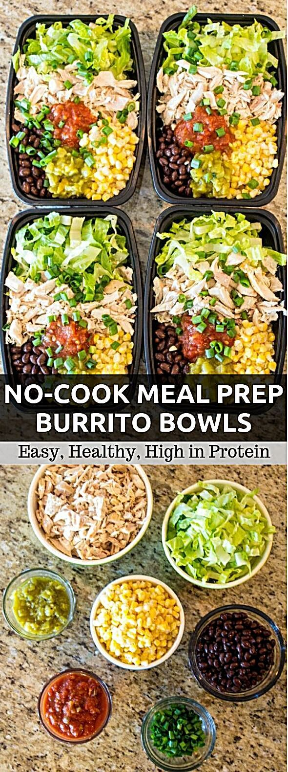 These solid dinner prep burrito bowls can be made in around 10 minutes and will keep going all of yo...
