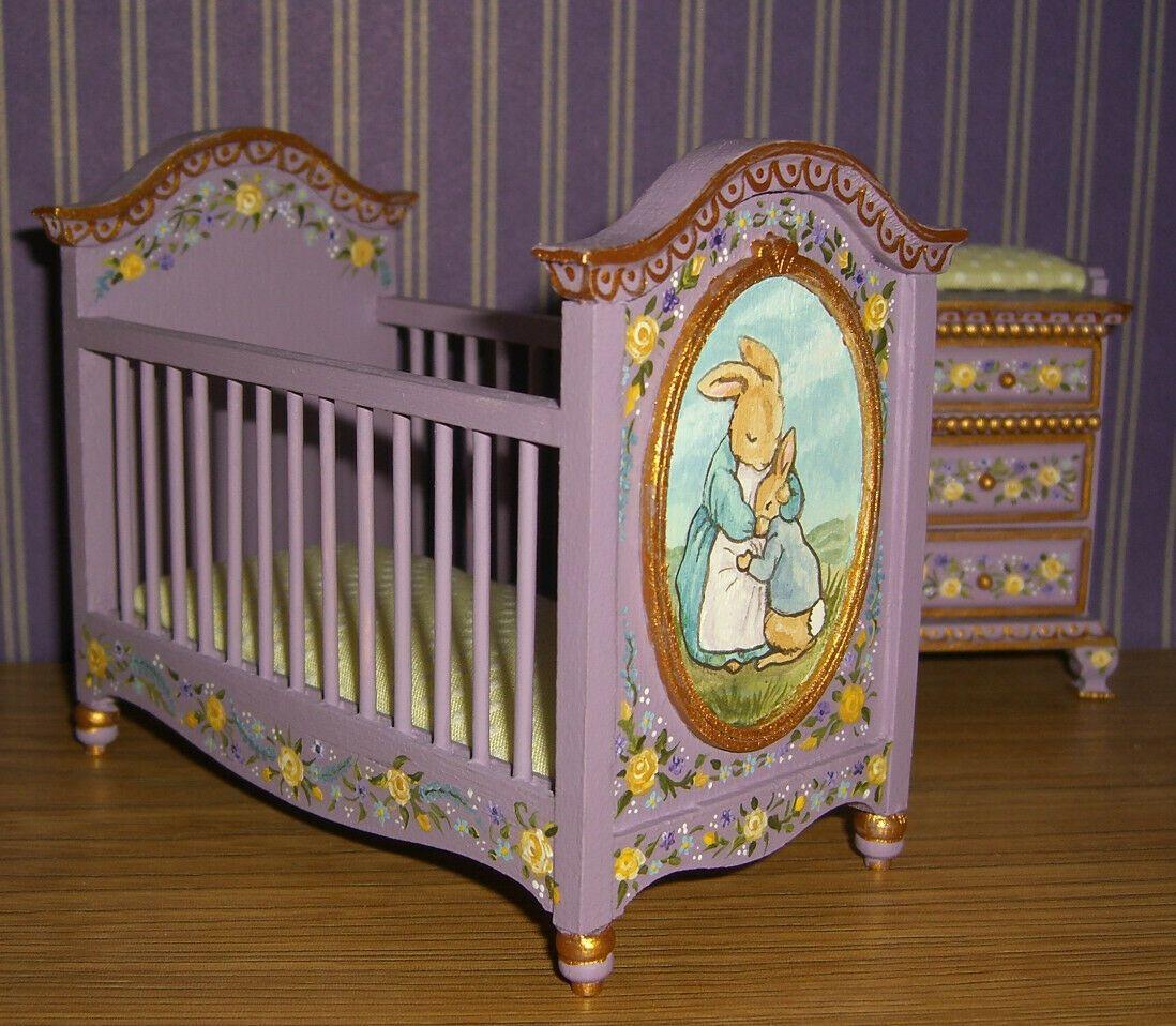 Dollhouse Mini Hand Painted Peter Rabbit Crib Change Table Nursery L Lassige Ebay Hand Painted Table Doll House Hand Painted