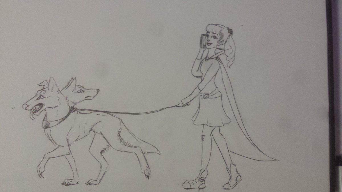 """Josie Christenson on Twitter: """"Had to do a quick drawing today due to long meetings, but hey! Have a vamp and her death dog. #inktober2016 https://t.co/kYVkgi7Nwn"""""""