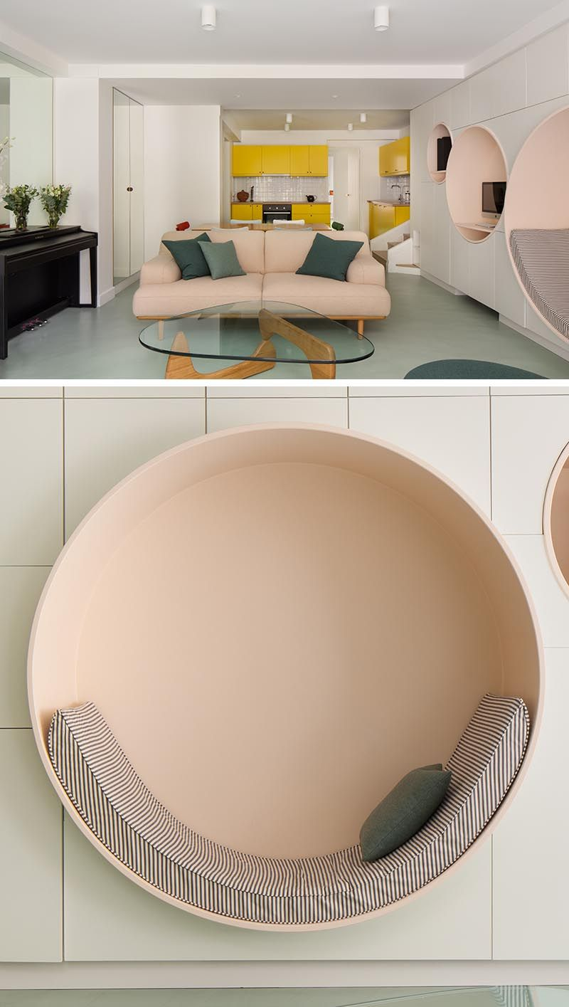 Circular Niches Are A Fun Design Detail In This French Apartment