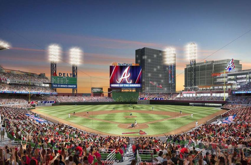 Atlanta Braves Reveal Suntrust Park Dimensions New Wall Atlanta Braves Suntrust Park Braves