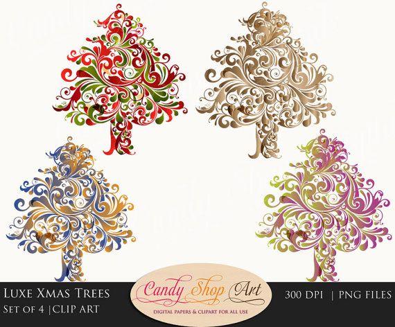 Photo of Items similar to Christmas Tree Clipart, Flourish Christmas Trees