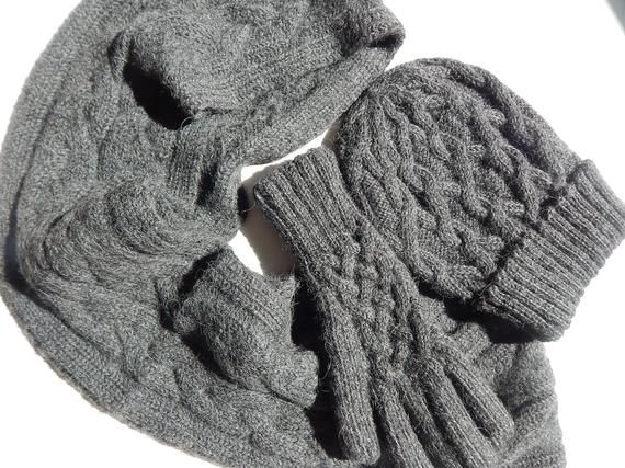 80e52853b617e Alpaca Scarf~Alpaca Gloves~Alpaca Hat Set~Charcoal Grey~Hand Knit Cable  Pattern~Ladie's Winter Accessories~Gift for Her