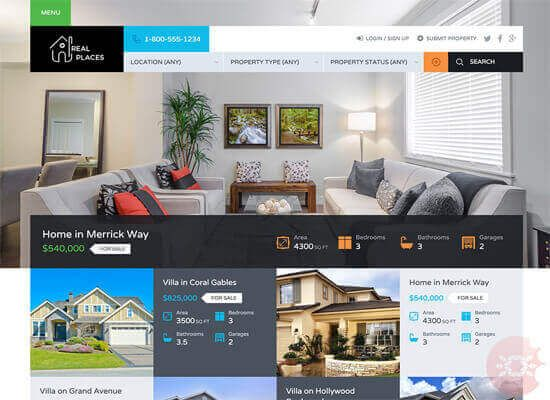Real Places v1.3.1 Real Estate WordPress Theme Free Download Latest ...