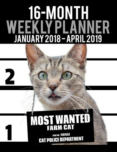 2018-2019 Weekly Planner - Most Wanted Farm Cat Daily Diary Monthly
