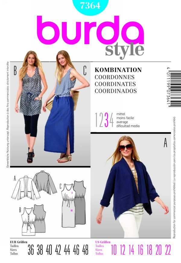 Pattern: burda 7364 Size: 10-22 Availability: OOP Condition: Uncut ...