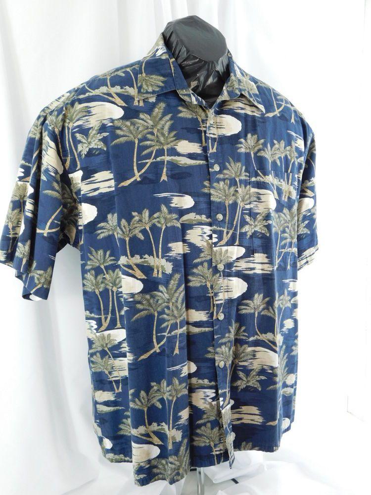 bd69398f2 Campia Moda ExLarge 100% Cotton Men's Hawaiian Blue Shirt With Palm Trees  #CampiaModa #Hawaiian
