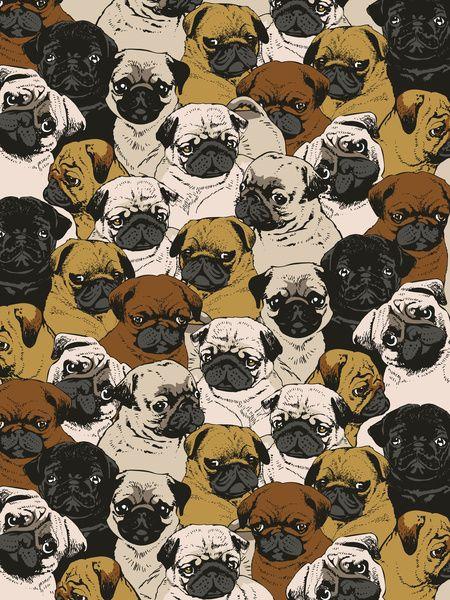 Social Pugz Art Print By Huebucket Society6 Wallpapers