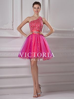 Peach A-Line Short Sequin One Shoulder With Straps Corset Prom Dress - US$ 105.99 - Style P1117 - Victoria Prom