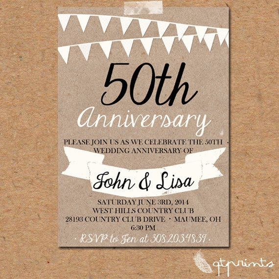 rustic 50th anniversary party Rustic 50th Anniversary Invitation - anniversary invitation