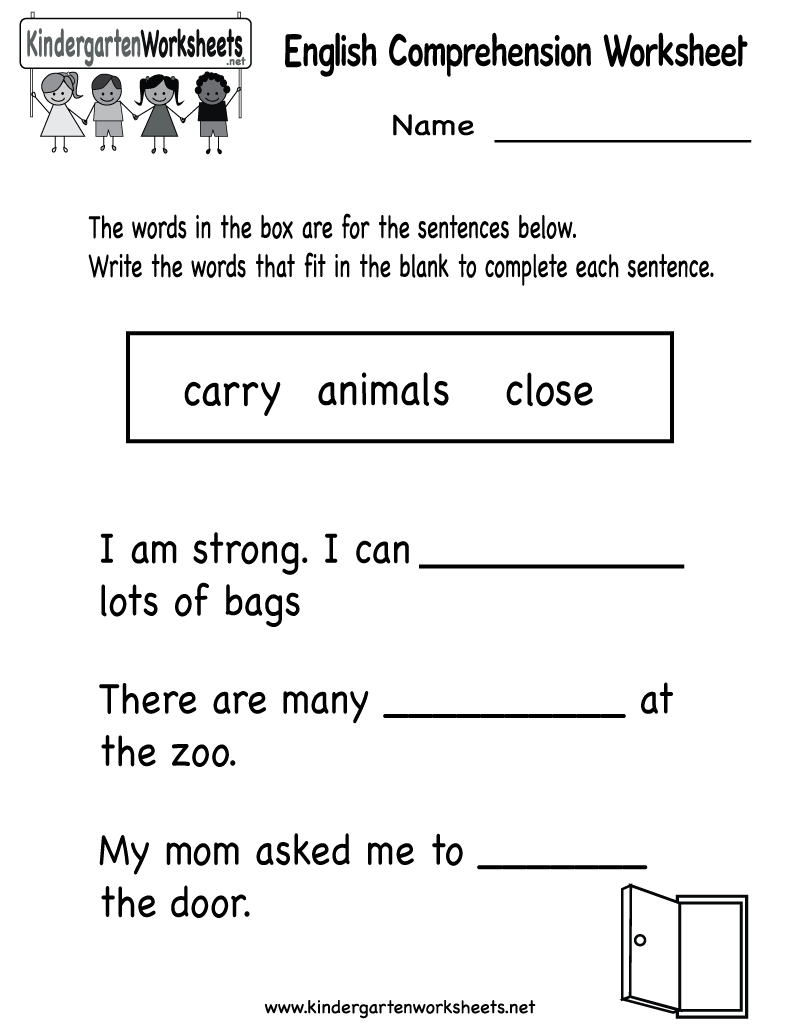 Kindergarten English Comprehension Worksheet Printable | Worksheets ...