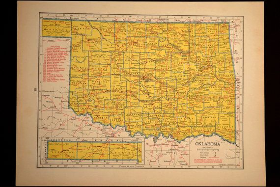 Oklahoma Map Oklahoma Railroad Vintage Original 1940s 1943