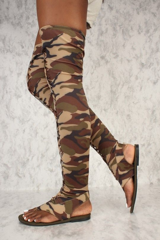 1001eeedd Camo Braided Lace Up Gladiator Open Toe Thigh High Sandals in 2019 ...