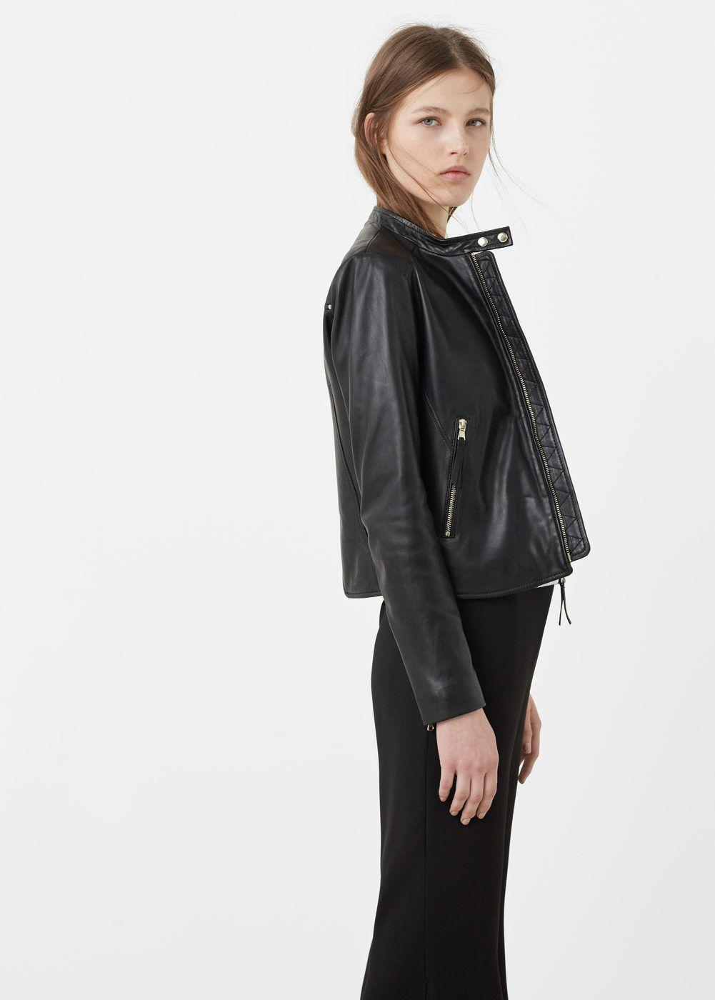 Zip Leather Jacket Women Mango Usa Zipped Leather Jacket Leather Jackets Women Jackets [ 1400 x 1001 Pixel ]