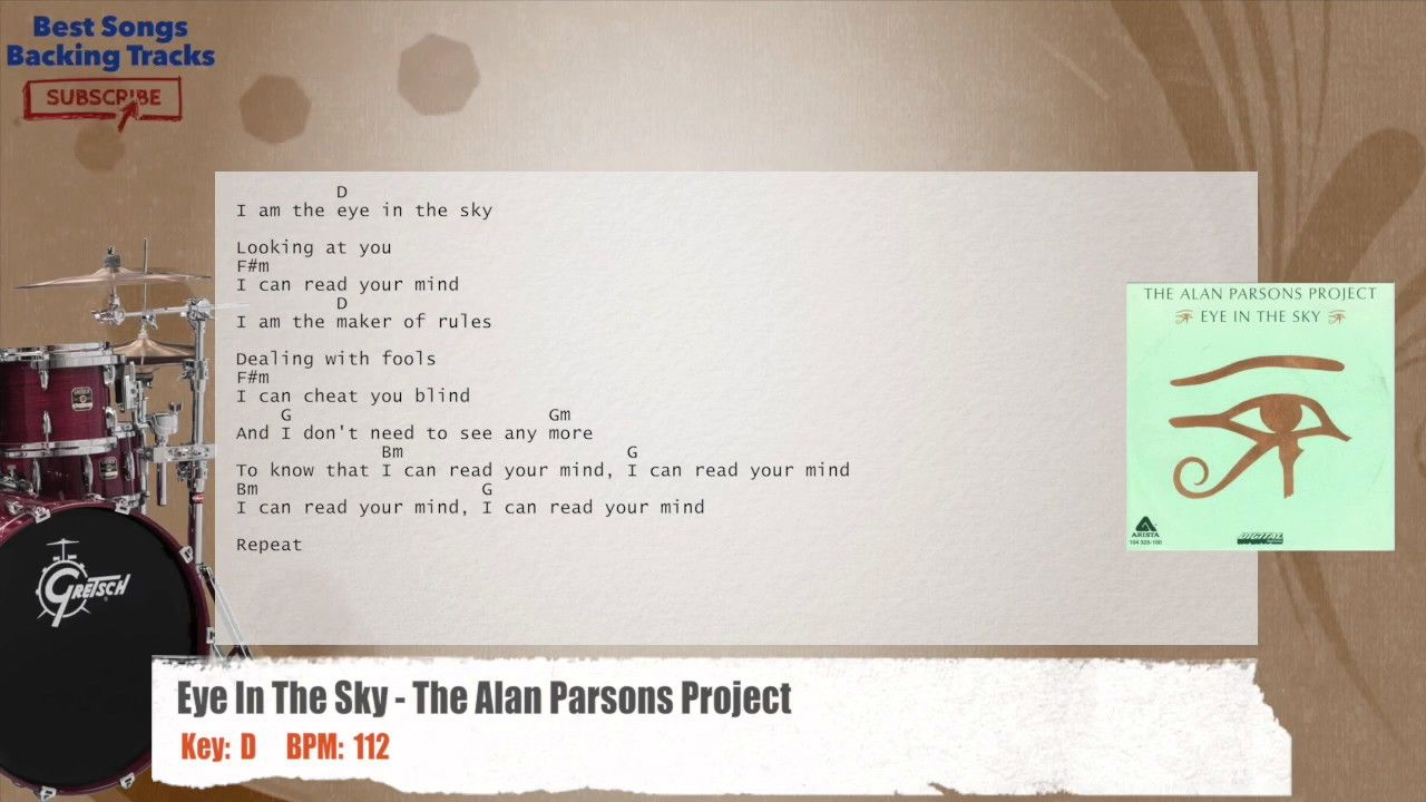 Eye In The Sky - The Alan Parsons Project Drums Backing Track with chords and lyrics