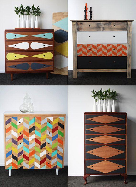 Relooker vos vieux meubles en bois avec de la peinture pastelle et des formes - Relooker meuble bois ...