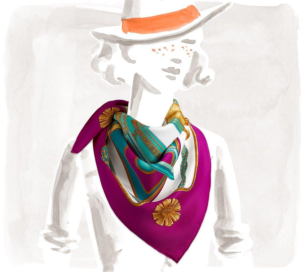 CarrÉs Hermès Rose - Aus Vintage-seide - Carrés 70cm - Damen | Hermès.com